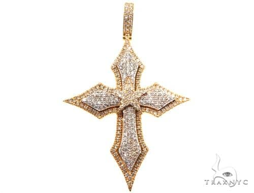 14K Yellow Gold Cross Pendant 64579 Diamond