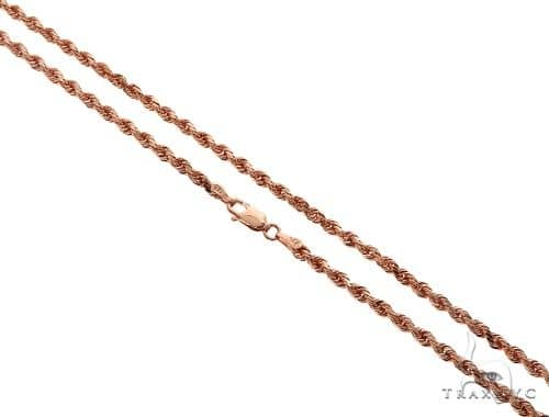 Solid 14K Rose Gold Rope Link Chain 24 Inches 3mm 18.0 Grams 64595 Gold