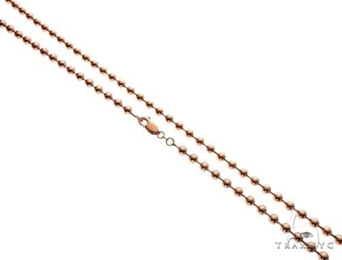 14K Rose Gold Ball Link Chain 26 Inches 4mm 35.0 Grams 64601 Gold