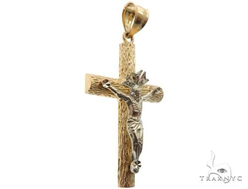 14K Two Tone Crucifix Cross 64618 Gold