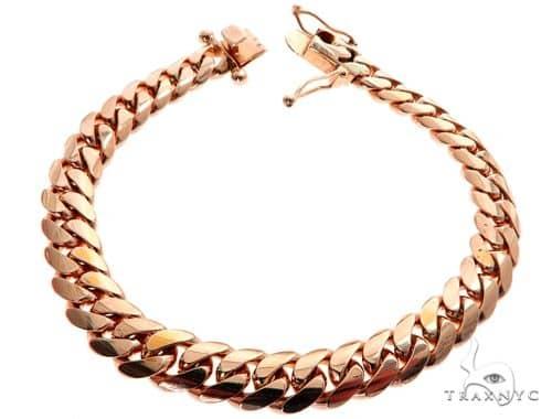 Miami Cuban Link 14K Rose Gold Bracelet 64619 Gold