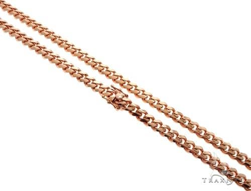 Miami Cuban Link 14K Rose Gold Chain 24 inches 7mm 95.1 Grams 64621 Gold