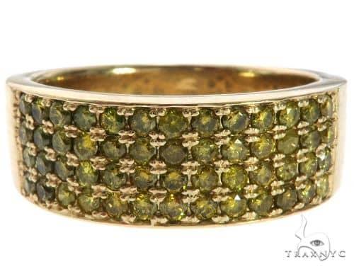 14K Yellow Gold 4 Row Yellow Diamond Pinky Ring 64626 Stone