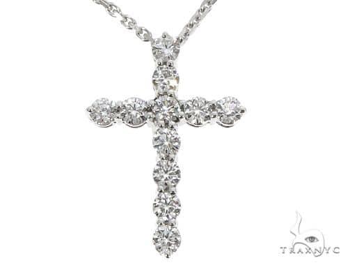 18K White Gold Diamond Cross Pendant with 18 Inch Chain 64630 Stone