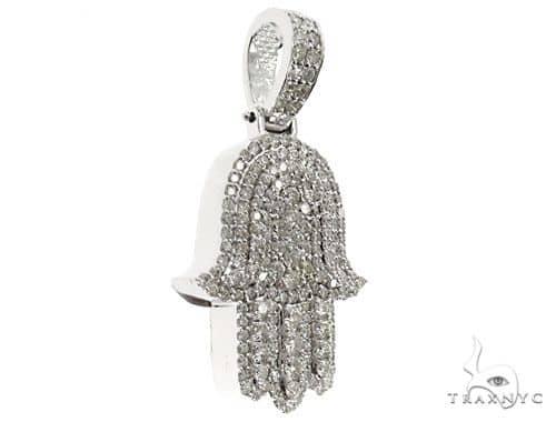 14k White Gold Diamond Hamsa Pendant 64634 Metal