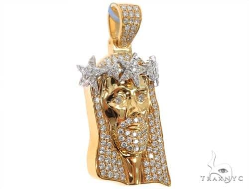 14k Yellow Gold Jesus Pendant with Crown of Stars 64635 Metal