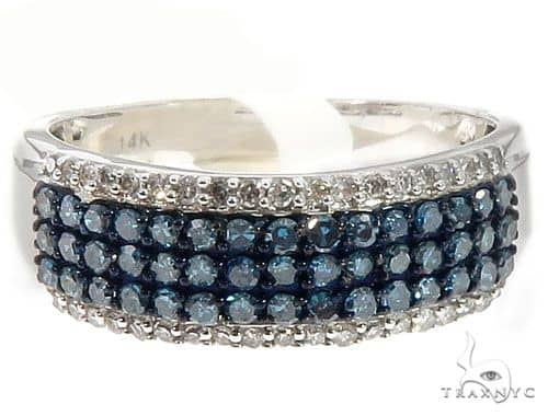 14k White and Blue Diamond Ring 64633 Anniversary/Fashion