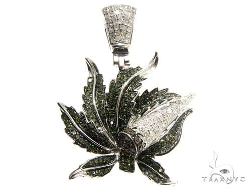 Gold with Multicolored Diamonds Maple Leaf Pendant 64639 Metal