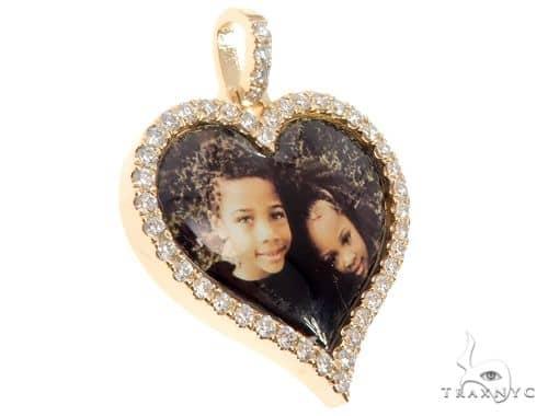 14k Yellow Gold Custom Photo Heart Pendant 1 Inch 64640 Stone