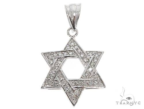 14k White Gold Diamond Star of David Pendant 64648 Metal