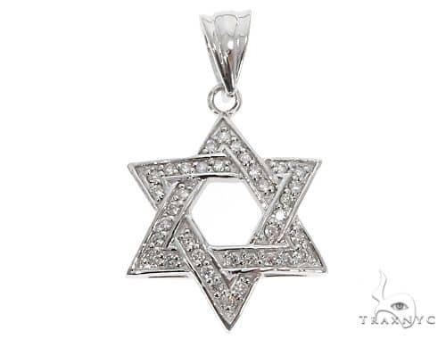 14k White Gold Diamond Star of David Pendant 64648 Metal