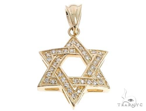14k Yellow Gold Diamond Star of David Pendant 64649 Metal