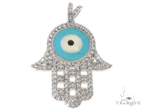 14k White Gold Diamond and Enamel Evil Eye Hamsa Pendant 64652 Stone