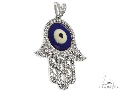 14k White Gold Diamond and Enamel Evil Eye Hamsa Pendant 64653 Stone