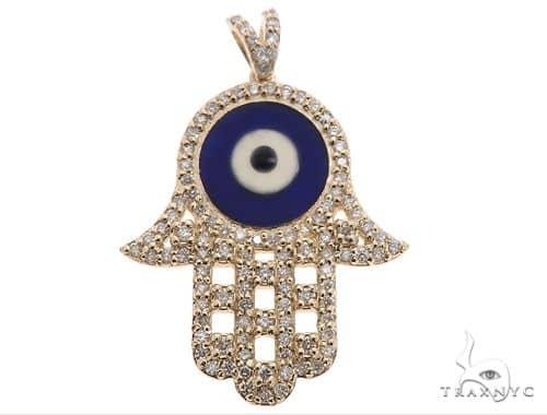 14k Yellow Gold Diamond and Enamel Evil Eye Hamsa Pendant 64654 Stone