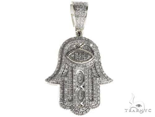 14K White Gold Micro Pave Diamond Hamsa Hand Charm Pendant 63619 64656 Metal