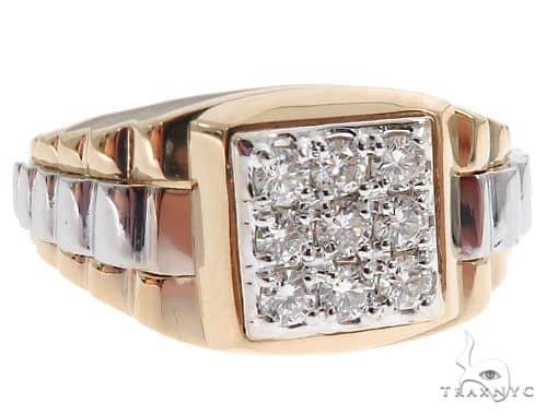 14k Two Tone Gold Men's Diamond Ring 64664 Stone