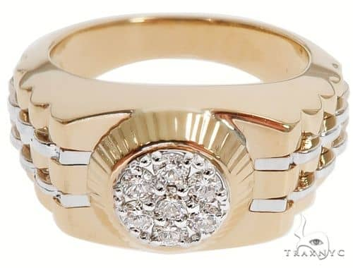 14K Two Tone Gold Men's Diamond Ring 64666 Stone