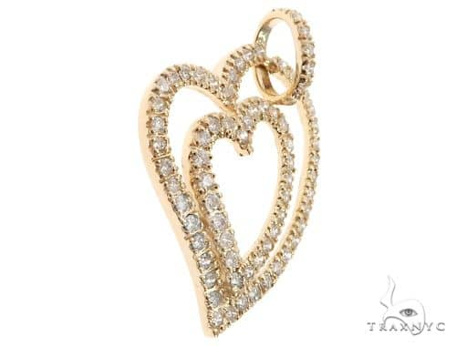 14k Yellow Gold Diamond Heart Pendant 64669 Stone