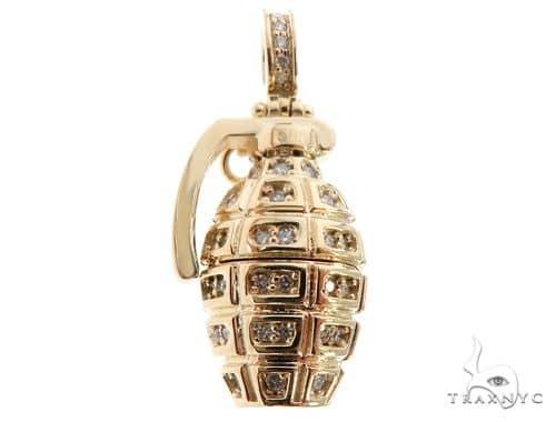 14k Yellow Gold Diamond Grenade Pendant 64670 Metal