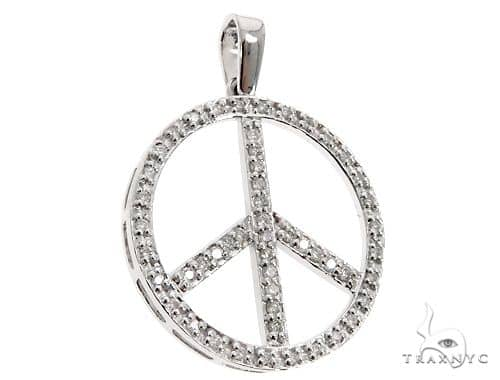 14k White Gold Diamond Peace Symbol Pendant 64671 Stone