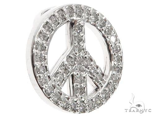 14k White Gold Diamond Peace Symbol Pendant 64672 Stone