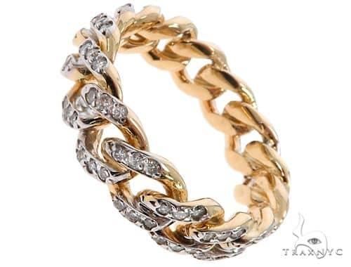 14k Yellow Gold Diamond Miami Cuban Ring 64675 Stone