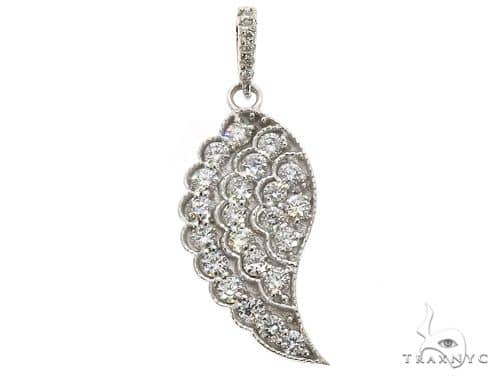 14k White Gold Diamond Angel Wing Pendant 64681 Stone