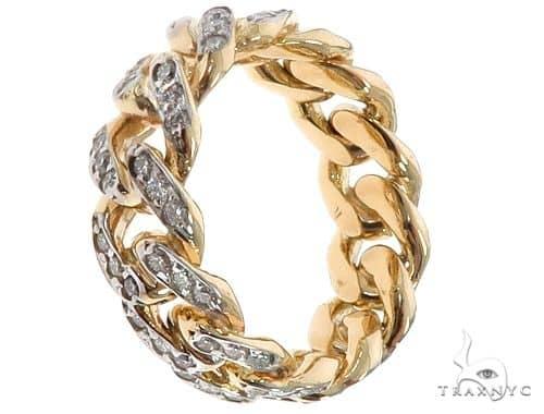 10k Yellow Gold Diamond Miami Cuban Ring 64682 Stone