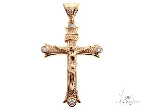 14K Yellow Gold Bezel Diamond Jesus Christ Crucifix 64684 Diamond