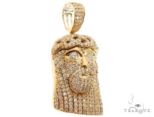 14k Yellow Gold Diamond Jesus Pendant 64688 Metal