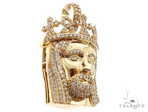 14k Yellow Gold Diamond Crowned Jesus Pendant 64690 Metal