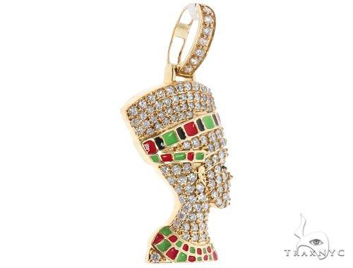 14k Yellow Gold Diamond and Enamel Nefertiti Pendant 64692 Metal