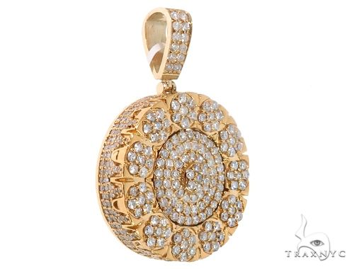 14k Yellow Gold Pendant with Diamond Clusters 64696 Metal