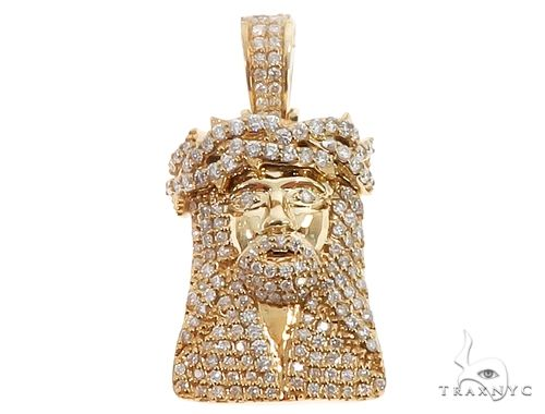 14k Yellow Gold Diamond Jesus Pendant 64701 Metal