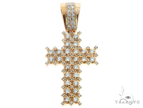 14k Yellow Gold Diamond Cross Pendant 64703 Metal