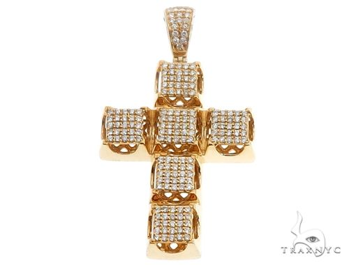 14k Yellow Gold Diamond Cross Pendant 64704 Metal