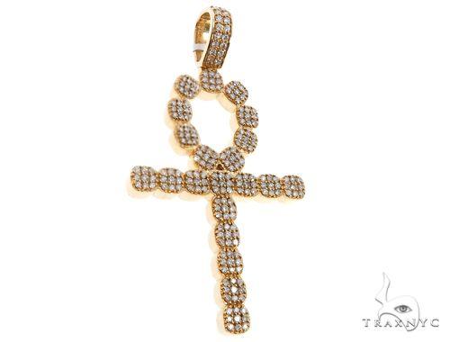 14k Yellow Gold Diamond Ankh Pendant 64705 Metal