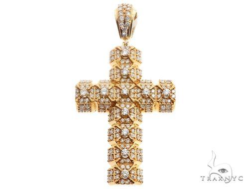 14l Yellow Gold Diamond Cross Pendant 64706 Metal