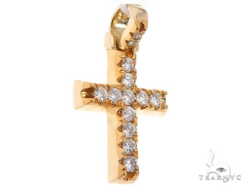 14K Yellow Gold Diamond Cross Pendant 64708 Metal