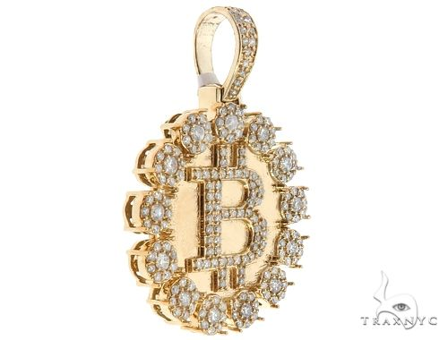 14k Yellow Gold Diamond 'B' Circular Initial Pendant 64709 Metal