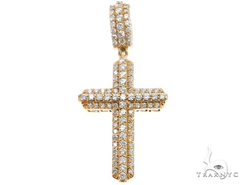 14k Yellow Gold Diamond Cross Pendant 64710 Metal