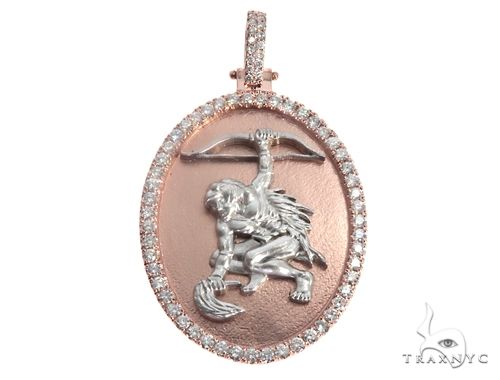 Custom Made Orisha Ochosi Yoruba Santeria Guerrero Warrior Pendant 14K Rose & White Gold 64729 Metal