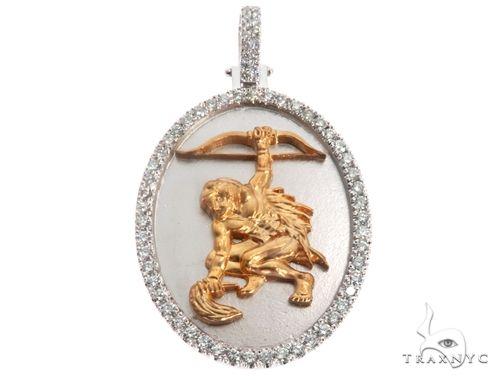 Custom Made Orisha Ochosi Yoruba Santeria Guerrero Warrior Pendant 14K White & Yellow Gold 64730 Metal