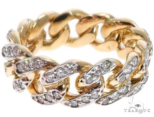14k Yellow Gold Diamond Miami Cuban Ring 64738 Stone