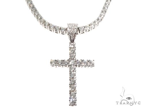 Custom Prong Diamond Cross Tennis Chain Set 64741 Diamond