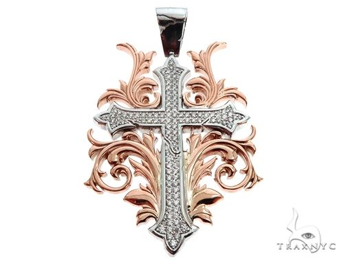 Black Ink Crew 14k Two Tone Diamond Filigree Cross Pendant 64747 Metal