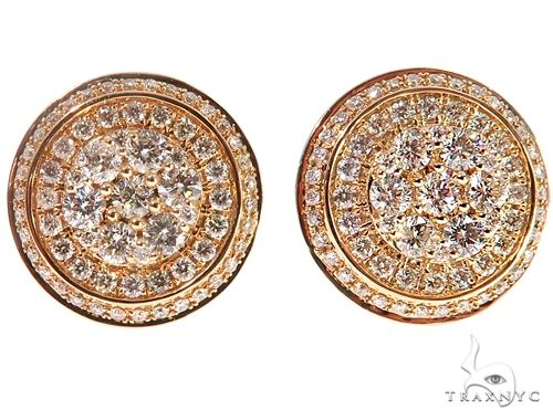 14k YG Diamond Cluster Stud Earrings 64750 Stone