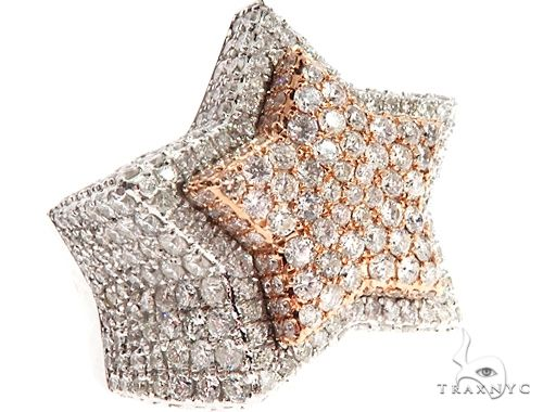Custom Diamond Two Tone Star Ring 64751 Stone