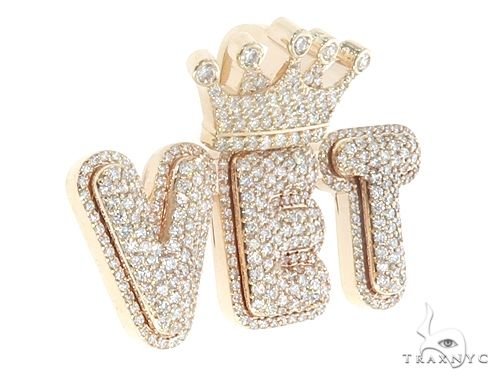 Custom Diamond Crowned Initial Letter Word Charm Pendant 64752 Metal